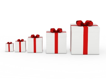 White gift boxes with red bow ordered