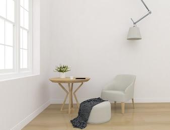White interior - blank wall mockup - wall art display