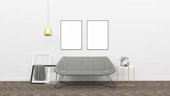 White interior - double frames mockup