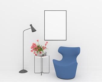 White interior -  vertical frame mockup