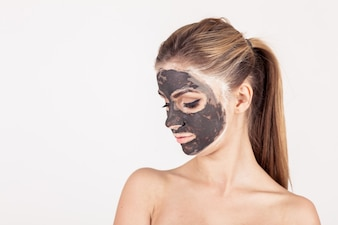 White mask face beauty woman applying