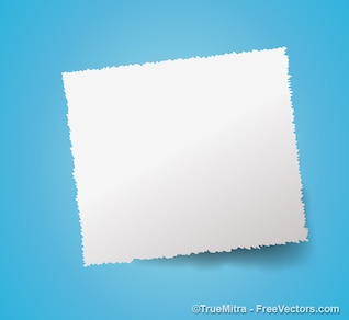 White paper banner on blue background