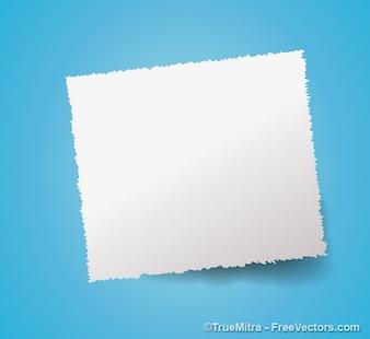 White paper banner on blue background