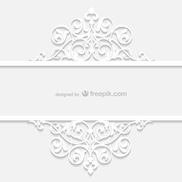 White retro ornamental template