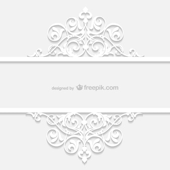 White retro ornamental template