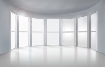 White room with lots of windows