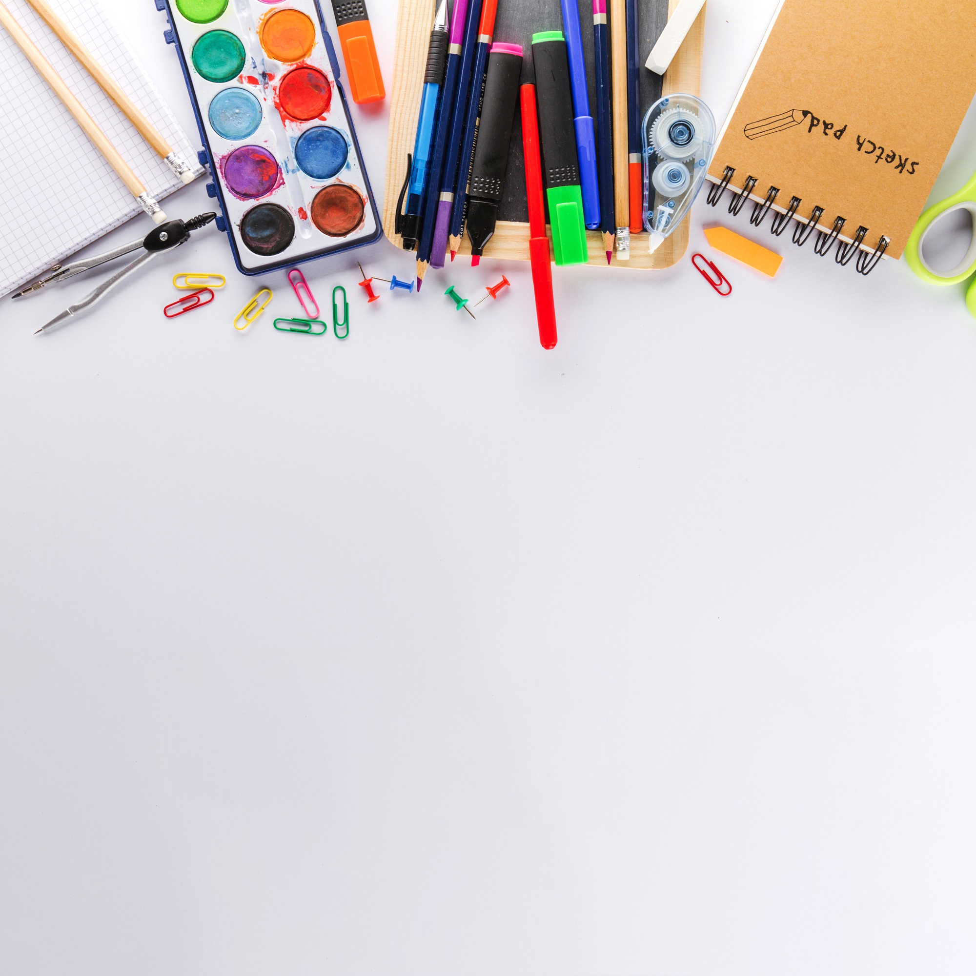 White surface and school supplies