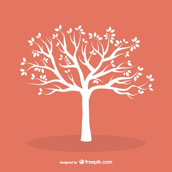 White tree with leaves