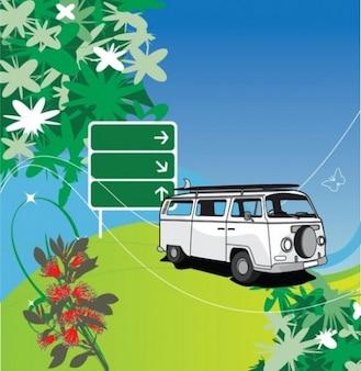 White Volkswagen on floral landscape background