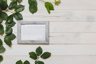 White wooden surface with frame and leaves