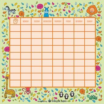 Wild animals school timetable