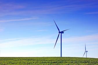Wind fan in a grass field