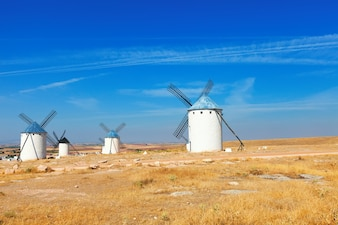 Wind mills in  La Mancha, Spain