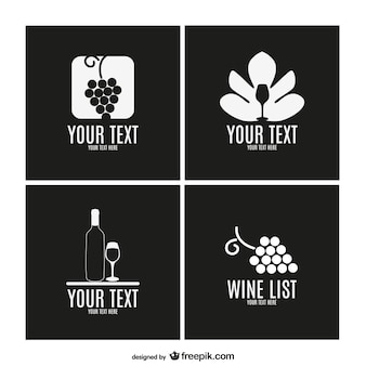 Wine vector label template collection