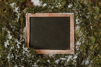 Winter composition with blank slate