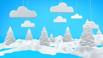 冬の風景3Dシーン