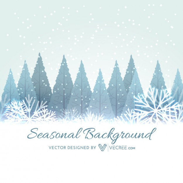 Winter trees with snowflakes background