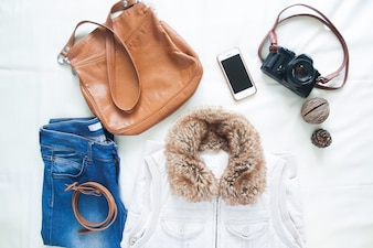 Woman accessories and items for spring travel, Flat lay, top view