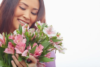 Woman falls in love with her bouquet
