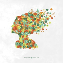 Woman floral profile illustration