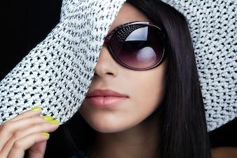 Woman glamour makeup looking close