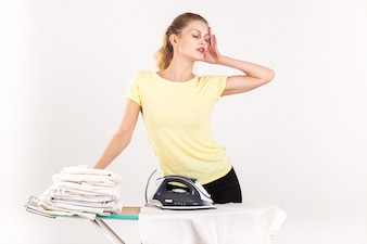 Woman happ young iron ironing