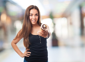 Woman holding an ice cream