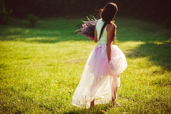 Woman in a pink wedding dress