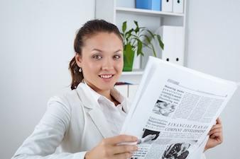 Woman newspaper employment portrait one