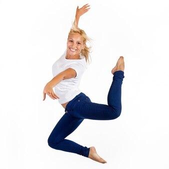 Woman posing in jump