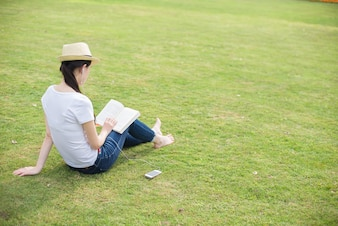 Woman reading at the park