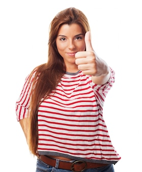 Woman showing approval sign