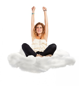 Woman sitting on a cloud