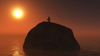 Woman sitting on a rock at sunset