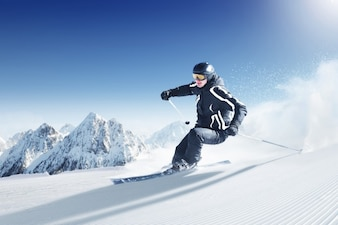 Woman skiing in the snow