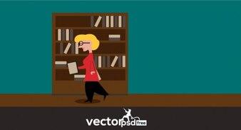 本のベクトル図を取る女性