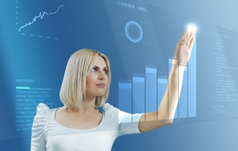 Woman touching stats