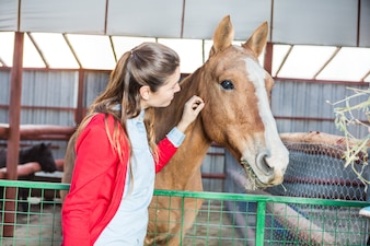 Woman touching the horse while eating