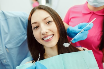 Woman waiting for her dental treatment