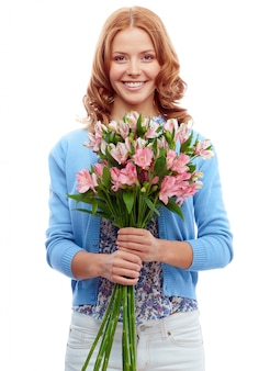 Woman waiting with a bouquet