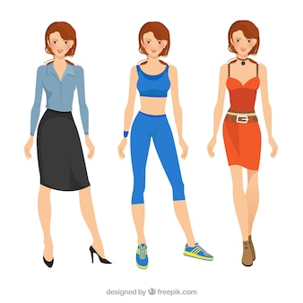 Woman with different clothes