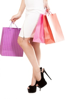Woman with purchase bags