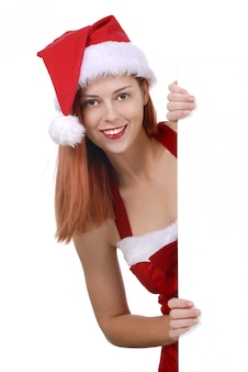 Woman with santa hat
