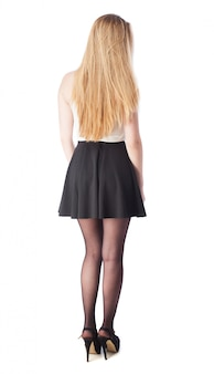 Woman with skirt and back heels
