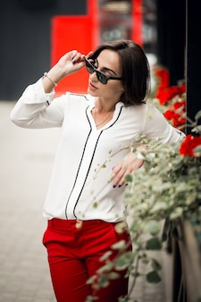 Women business consumerism space red one