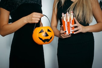 Women with Halloween decorations