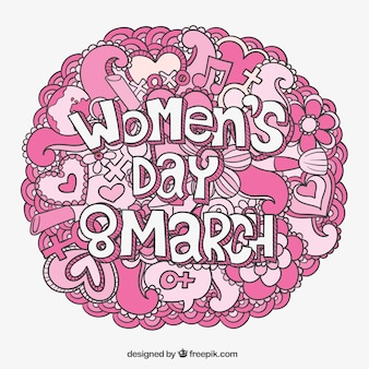 Womens day card with pink doodles