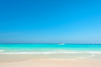 Wonderful tropical beach, Scenery blue and bright sea with blue sky, Beautiful exotic beach for relaxation