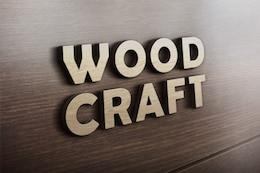 Wood craft logo mockup