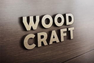 Wood craft logo mockup